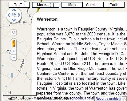 A Google Map showing an excerpt from Wikipedia about Warrenton, Virginia.