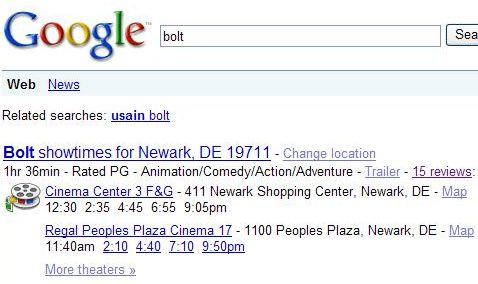 screenshot of local movie search results