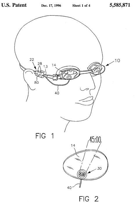a screen shot from the patent showing someone wearing the swimming goggles, with a cut-out closeup of the monitoring apparatus in one of the goggle lenses.