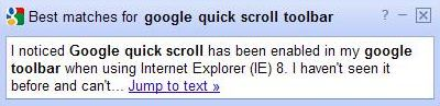 A Google quick scroll popup/information box that showed up on a page I visited on a search for a search for google quick scroll toolbar.