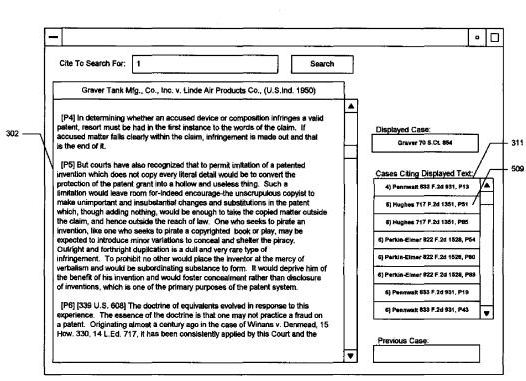 A screenshot from one of the new patents below showing a legal document in a main window, with a list of cited cases in a sidebar.