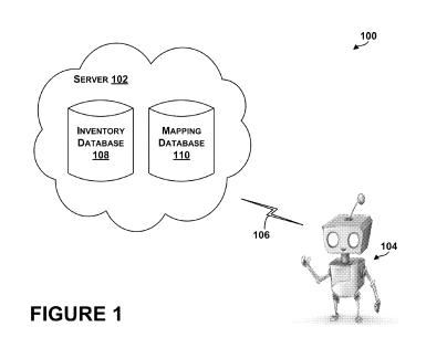 A screenshot from the patent of a robot accessing an inventory database and a mapping database
