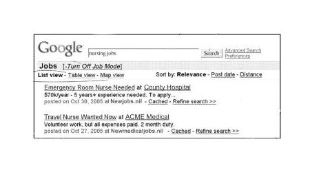 A set of Google search results showing a job mode being turned on, and additional search interface options available to someone searching in job mode.
