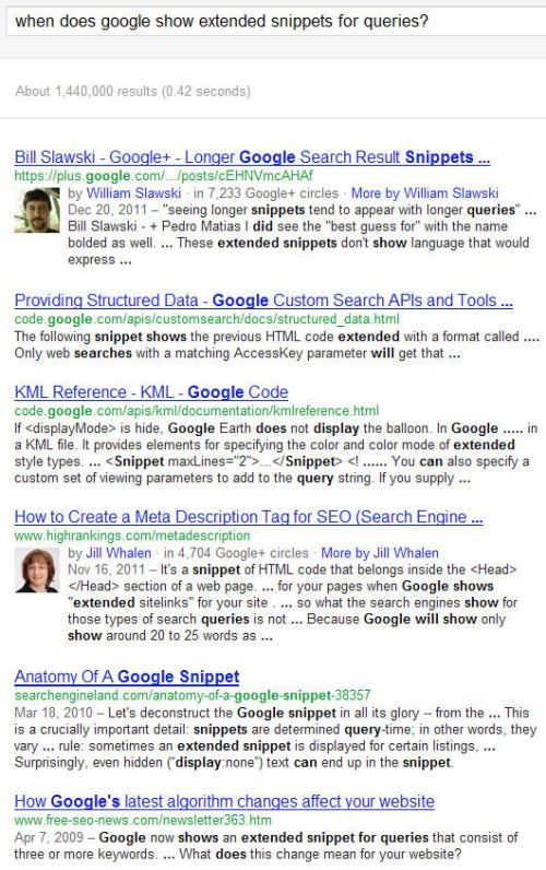 Google search results with many snippets that are much longer than what Google used to show in the past.
