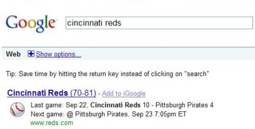 onebox search result showing the score of the last Cincinnati Reds game, and the date of the next game.