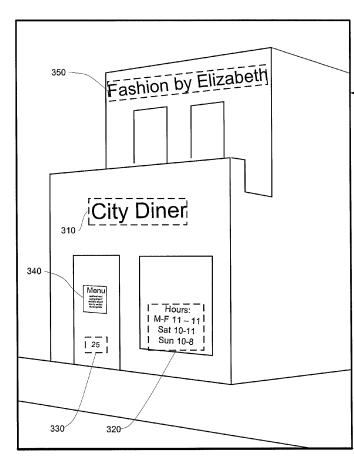 A screenshot from the patent showing a building with multiple signs, including a menu, hours open, and the names of two stores that occupy the building.