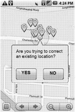 The map with a dialog box, asking if the viewer is attempting to correct an existing location