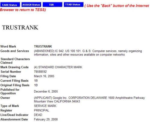 TESS search result for TrustRank showing a service mark claim abandoned on February 29, 2008.