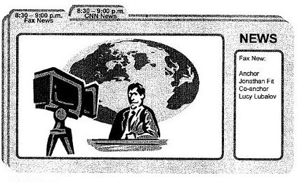 Screenshot from Google patent filing showing a front window with information about a news broadcast, with two tabs above showing names and times of news shows.