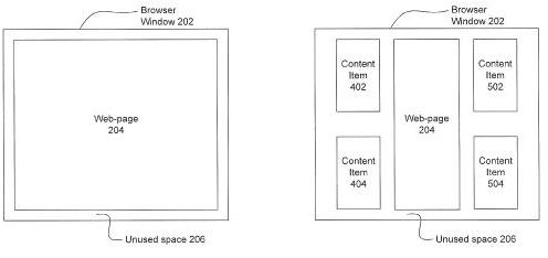 An image from the patent showing two different displays; one with a limited amount of unused browser space, and one with a large amount of unused browser space and additional content items.