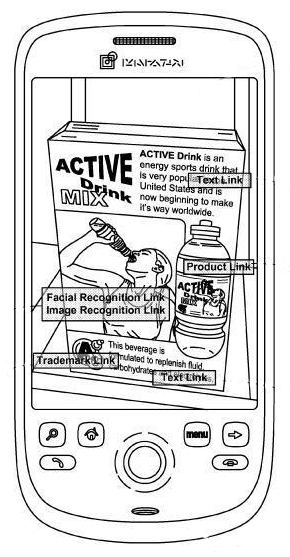 The same image, but with different sections with labels such as trademark search, product search, facial recognition link, image recognition link, and text link.