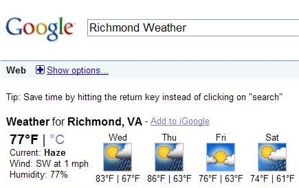 onebox search result showing the weather forecast in the Richmond Virginia area.
