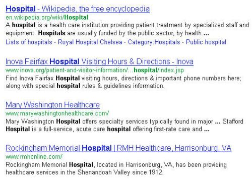 Some first page search results for the query term [hospital] that only rank that highly because of Google's localized organic search algorithm.