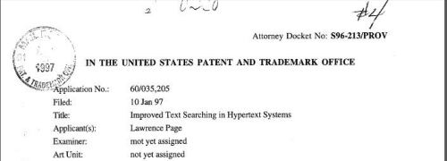 The top of the cover letter for the provisional patent filing for PageRank.