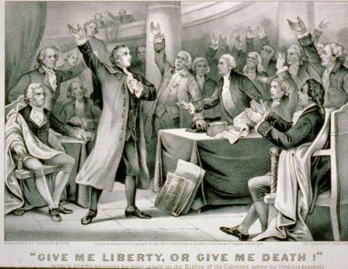 Patrick Henry at the Virginia Assembly, giving a speech that spread quickly across the colonies.