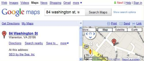 A Google Maps result showing only one location listing for a search for 84 Washington St., Warrenton, Va