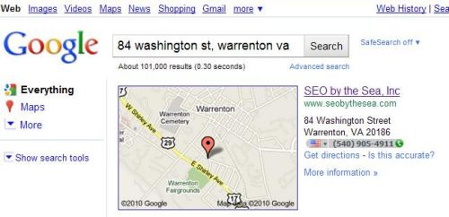 A Google Web search result showing a map of the location at the top of the results in a listing in a search for 84 Washington St., Warrenton, Va