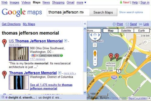 A Google Maps screenshot showing two locations for the Jefferson Memorial