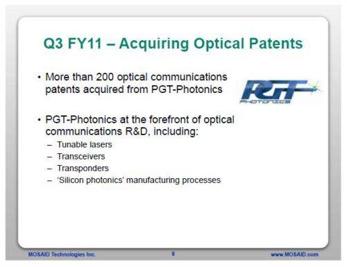 A slide from Mosaid's presentation on their third quarter Fiscal 2011 status, presenting the acquisition of 200+ patents from PGT Photonics.