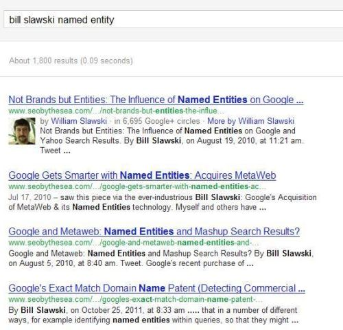 A search result for the query [bill slawski named entity] showing 4 results.