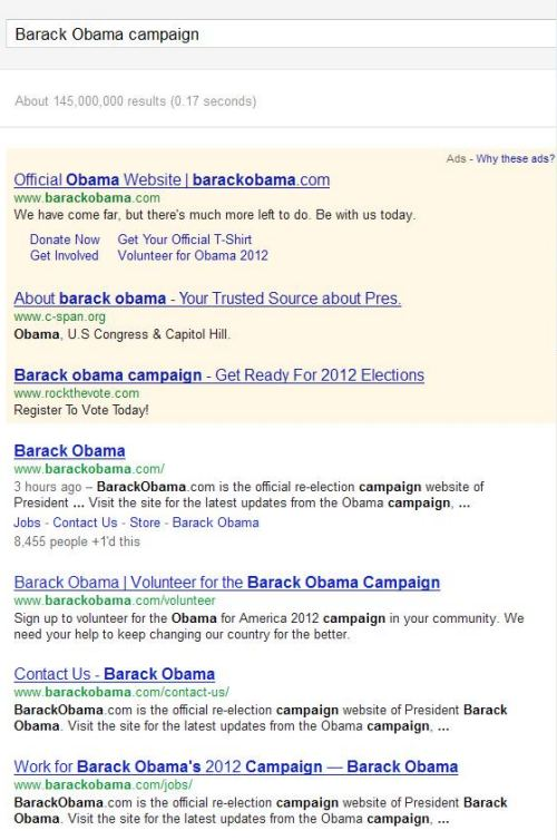 A search result for the query [barack obama campaign] showing 4 results.