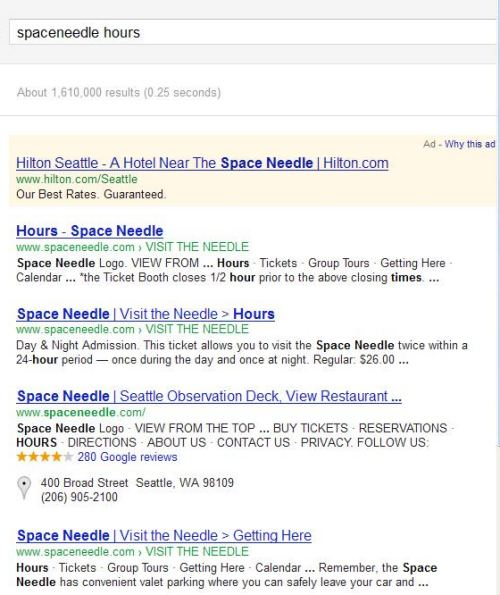 A search result for the query [space needle hours] showing 4 results.