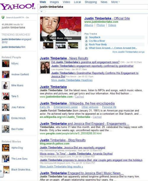 On a Yahoo search for [Justin Timberlake], the left column of the search result shows related people such as NSync, Andrew Garfield, Mike Myers, and Joey Fatone, and related movies such as Alpha Dog, and The Love Guru.