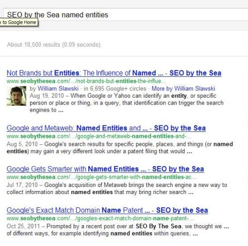 A search result for the query [space needle hours] performing named entity detection.