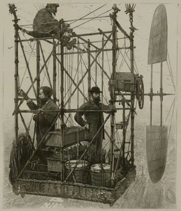 An electronical navigation device with a propeller, from a wood engraving between 1880 and 1900, library of Congress.