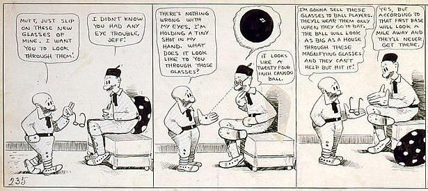 Mutt and Jeff cartoon strip, from 1919, with a pair of magnifying glasses.