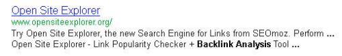 A Google Snippet showing the Open Site Explorer page and hightlighted terms in the snippet from alt text from an image.