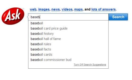 an example of ask.com search query suggestions