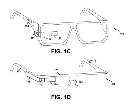 A screenshot from the patent application showing a camera attached to the sidebar of two different versions of Google Glass.