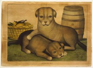 Two puppies, a barrel, and a basket of food, Library of Congress LC-USZC4-3218
