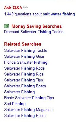ask.com query suggestions at the right of search results