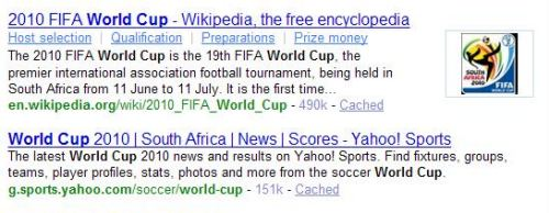 Top Yahoo search results on a search for world cup show a lot of 2010 results, and few results from earlier competitions.