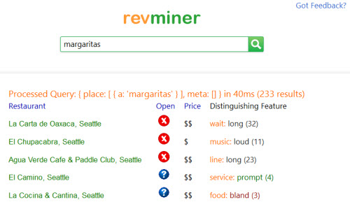A snapshot of the search on the revminer site, with a search for margaritas.