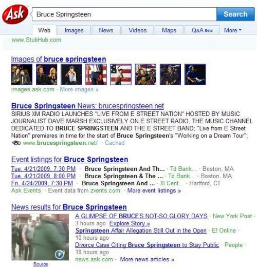 Ask.com search results for a search for Bruce Springsteen, including multimedia video news and image and news clustering.