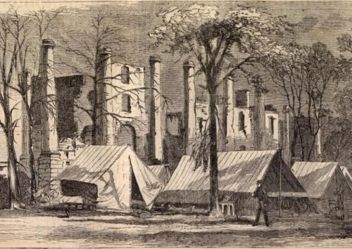 An image from Harper's weekly showing a Union army camping in front of the ruins of the resort.