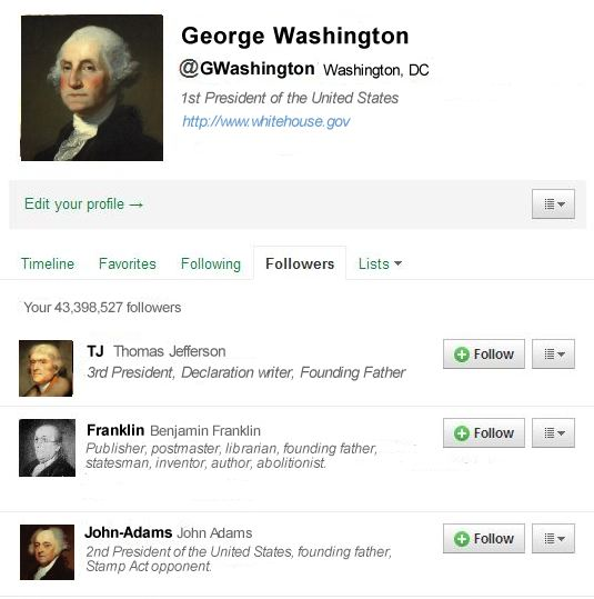 A twitter followers page for George Washington. Happy President's Day.