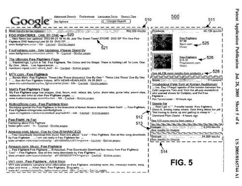 Google Universal Search Patent Screenshot