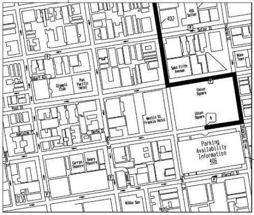 A map from the Yahoo patent showing an area in NYC with a parking garage labeled 'Parking Availibilty Information.