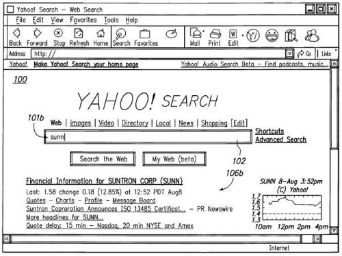 A screen shot from a yahoo patent showing a speculative search result for sunn
