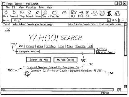 A screen shot from a yahoo patent showing a speculative search result for sunnyvale weather