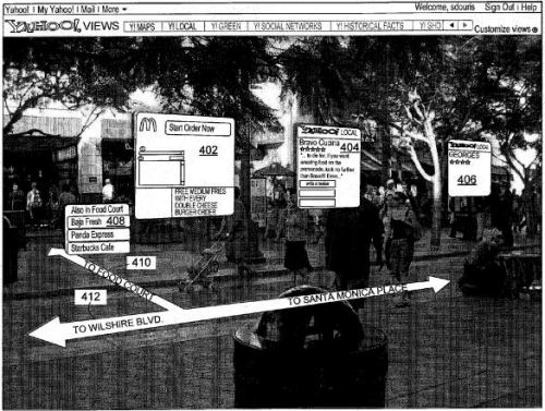 Patent illustration showing a city street scene with a virtual overlay showing ads and directions.